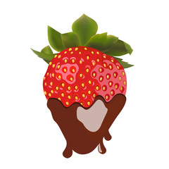 beautiful strawberries in dark chocolate. vector illustration