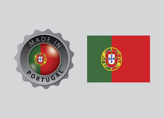 Made in Portugal seal, Portuguese Flag (vector Art)