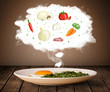 Plate of food with vegetable ingredients illustration in cloud