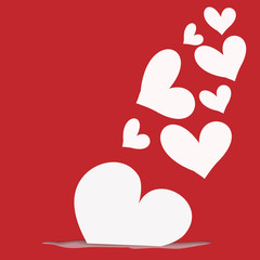 abstract white heart on red  background