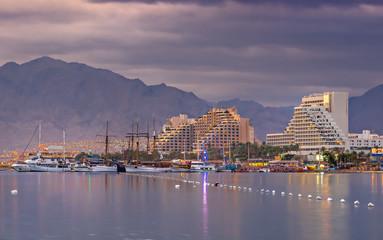Central beach of Eilat at dawn