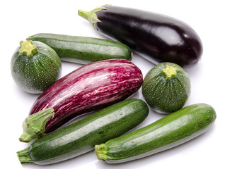 Composition with eggplants and zucchini