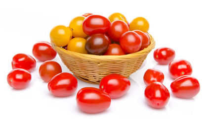 Different varieties of cherry tomatoes in a basket