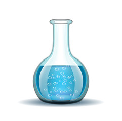 Chemical laboratory transparent flask with blue liquid