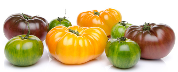 Green, yellow and purple tomatoes