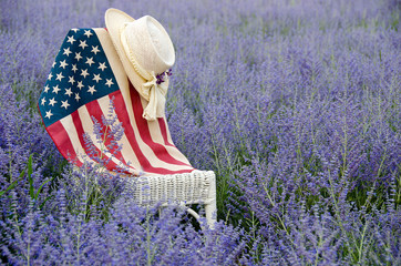 flag on chair in purple Russian sage