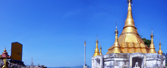 Panorama of Golden Pagoda at Tai Ta Ya Monastery