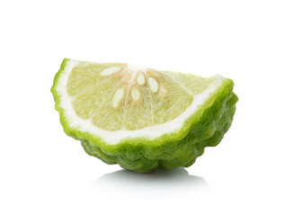 Bergamot slice isolated white background