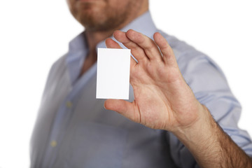 Businessman with white business  card