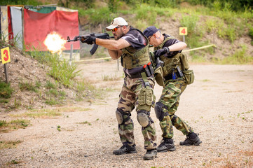 Tactical Training. Shooting and Weapons. Outdoor Shooting Range