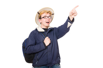 Funny student wearing safari hat