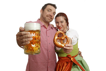 Couple in traditinal bavarian costumes