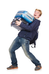 Funny man with luggage on white