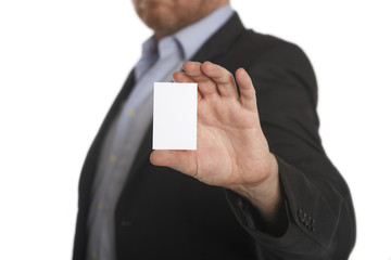 Businessman with business white card
