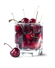 Sweet cherry in the glass