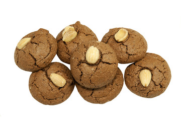 Freshly bakes Chocolate Amaretti Cookies, isolated