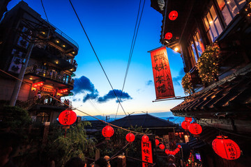 seaside mountain town scenery in Jiufen, Taiwan