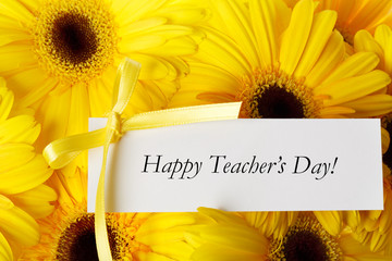 Happy Teachers Day message with gerberas