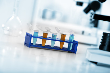 Micro tubes with biological samples in laboratory for DNA analys