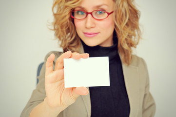Businesswoman is Showing Business Card