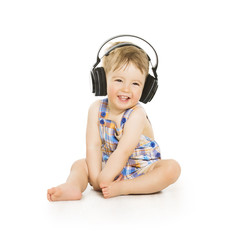 Baby in Headphones Listening to Music, Small Child on white