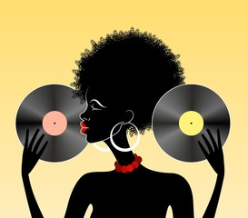 African girl holding two vinyl records