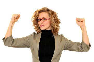 Successful young business woman rising hands