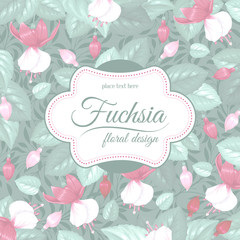 Retro flower card- fuchsia