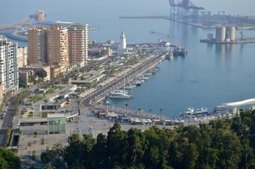 Málaga, panorámica, puerto, Andalucía