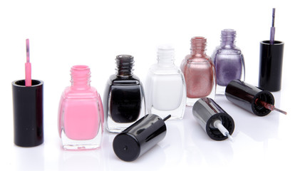 Line of nail polish bottles