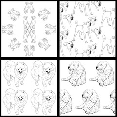 Seamless pattern of dog-black and white