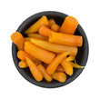 Serving of carrots in a black bowl