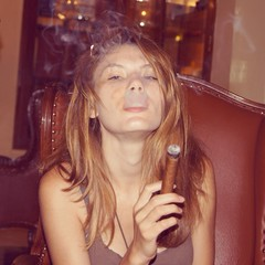 girl with cuban cigar