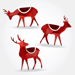 Set of polygonal reindeers, christmas vector illustration