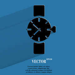 Watch,clock. Flat modern web button with long shadow and space