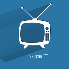 Retro tv. Flat modern web button with long shadow and space for