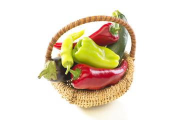 Vegetables in the basket.