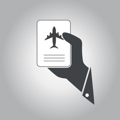 hand hold  airplane ticket vector icon