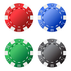 Four gambling chips (red, blue, green, black) for your designs