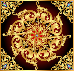 background with gold  patterns and precious stones