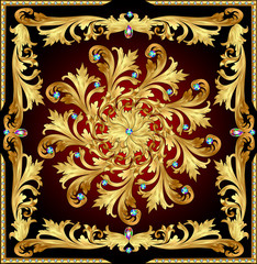background with a rosette of gold and precious stones