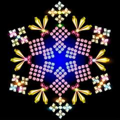 shiny snowflake background of precious stones