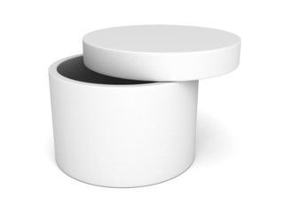 opened round box with cover on white background