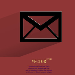mail. envelope. Flat modern web button with long shadow and