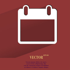 Calendar. Flat modern web button with long shadow and space for
