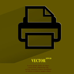 Printer. Flat modern web button with long shadow and space for