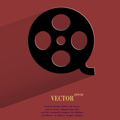 Film. Flat modern web button with long shadow and space for your