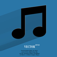 Music note. Flat modern web button with long shadow and space