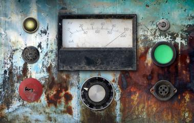 vintage ampere meter control panel