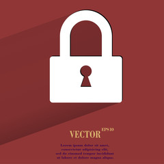padlock. Flat modern web button with long shadow and space for